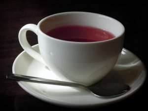 ceramic cup of hibiscus tea